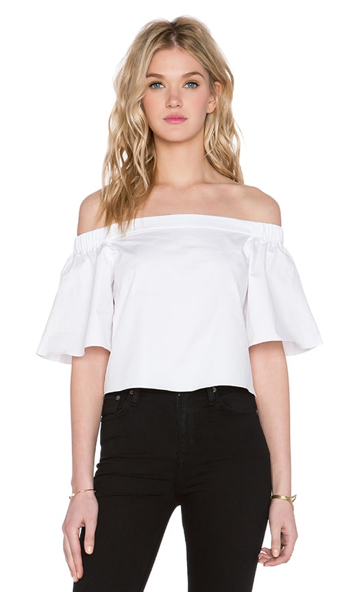 de3ecb929daab2 Tibi Off Shoulder Short Sleeve Top in White