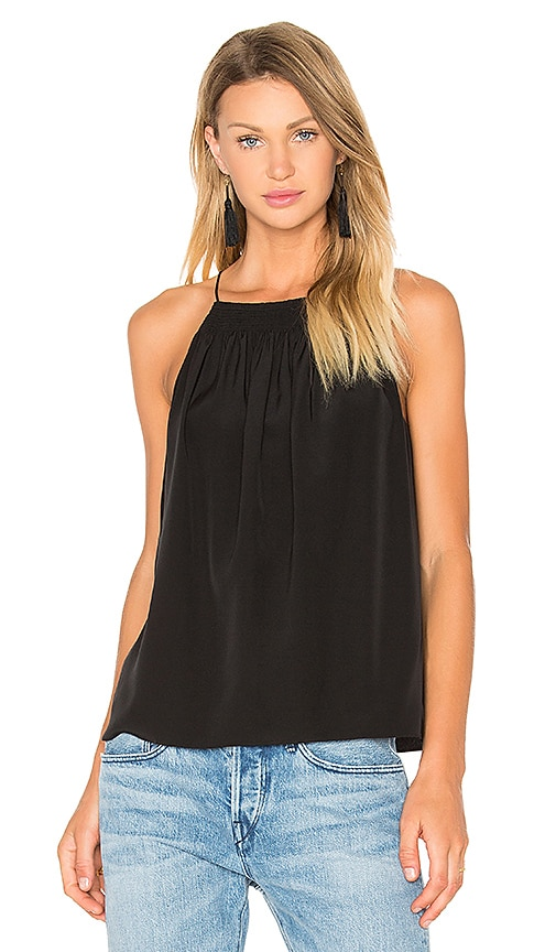 Tibi Shirred Halter Cami in Black