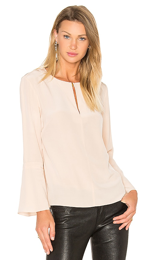 Tibi Split Neck Belle Top in Peach