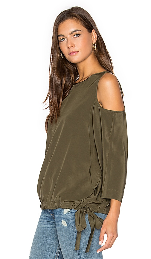 Tibi Cut Out Sleeve Top in Olive