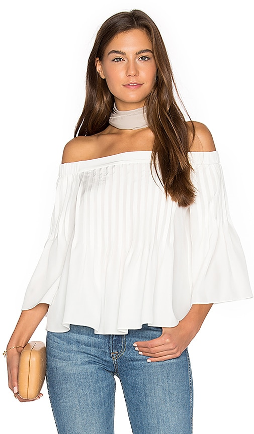 Tibi Pintucked Top in White