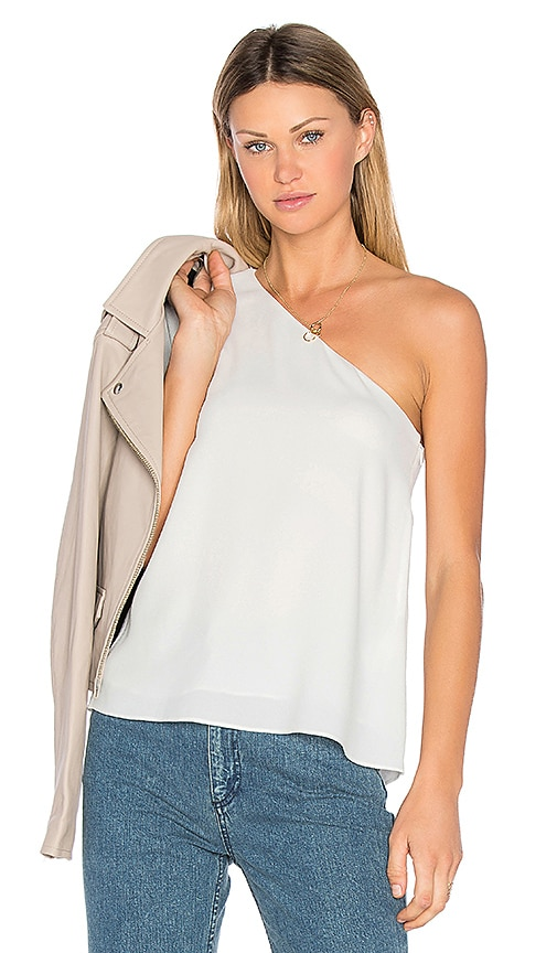 Tibi One Shoulder Ruffle Top in White
