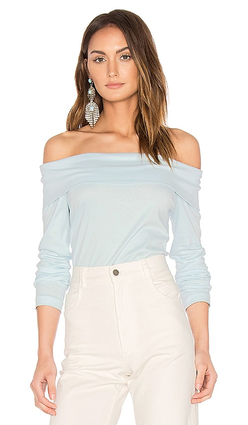 Tibi Off Shoulder Top in Blue