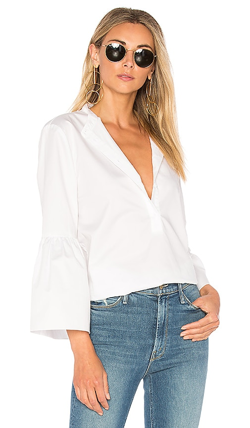 Tibi Tunic With Shirred Back & Bell Sleeve in White
