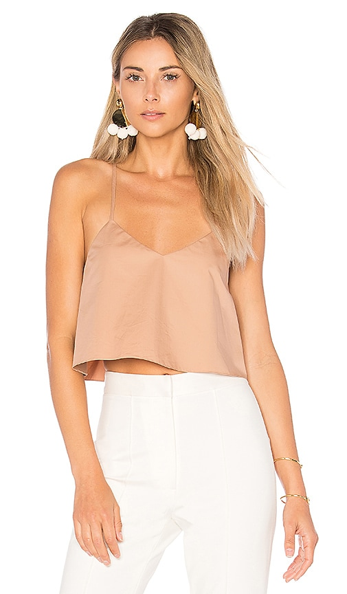 Tibi Cropped Tank With Shirred Back in Brown