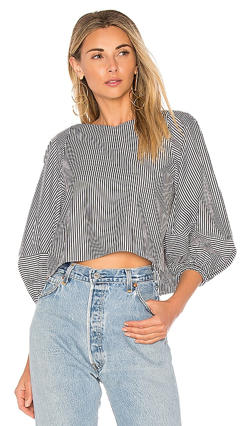 Tibi Cropped Top With Bell Sleeves in White
