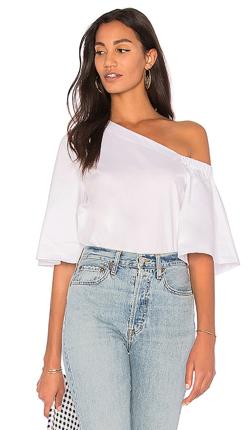 Tibi One Shoulder Bell Sleeve Top in White