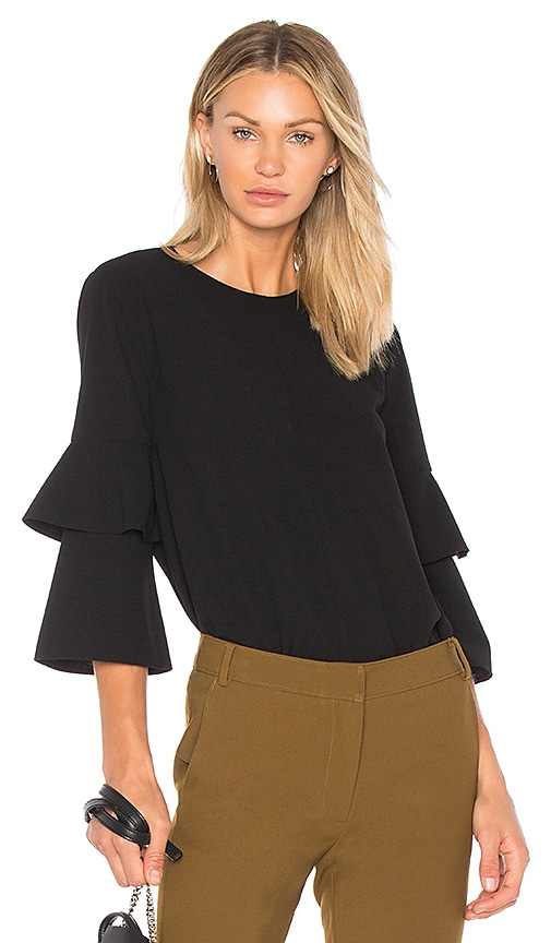 Tibi Bell Sleeve Top in Black