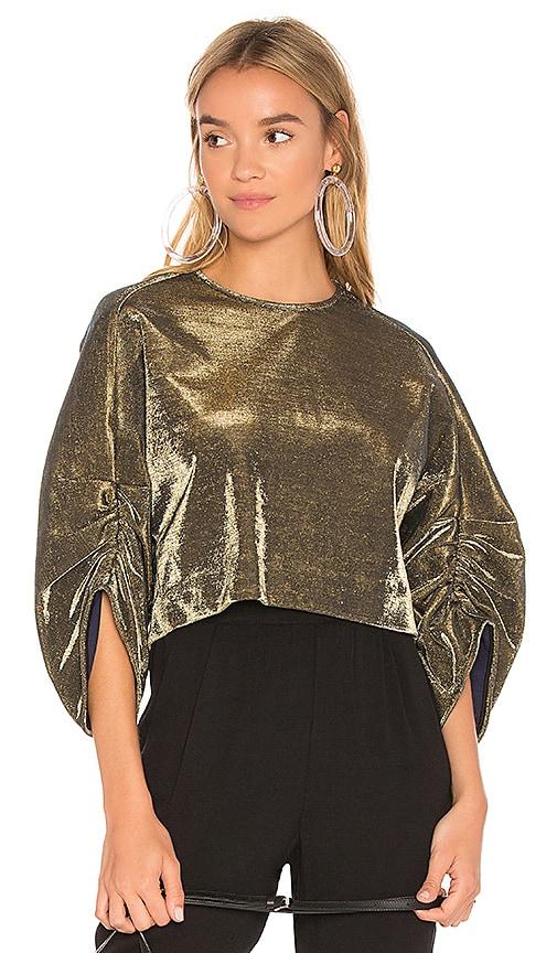 Tibi Sculpted Shirred Top in Metallic Gold