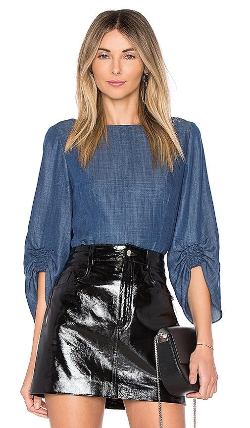 Tibi Drape Corset Top in Blue