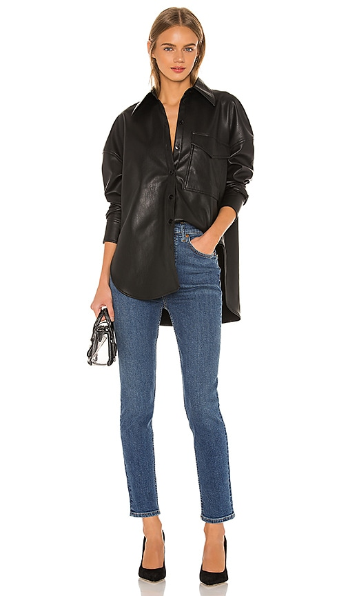 Faux Leather Relaxed Utility Blouse