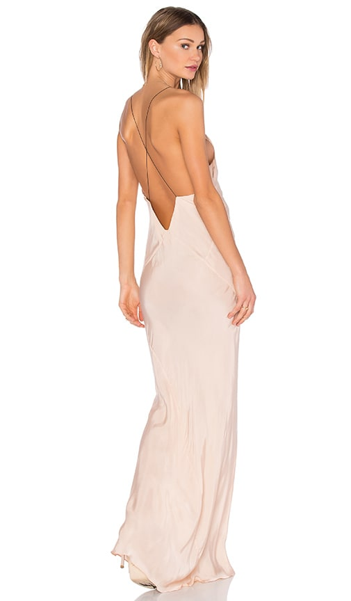 TITANIA INGLIS Long Plunge Dress in Blush