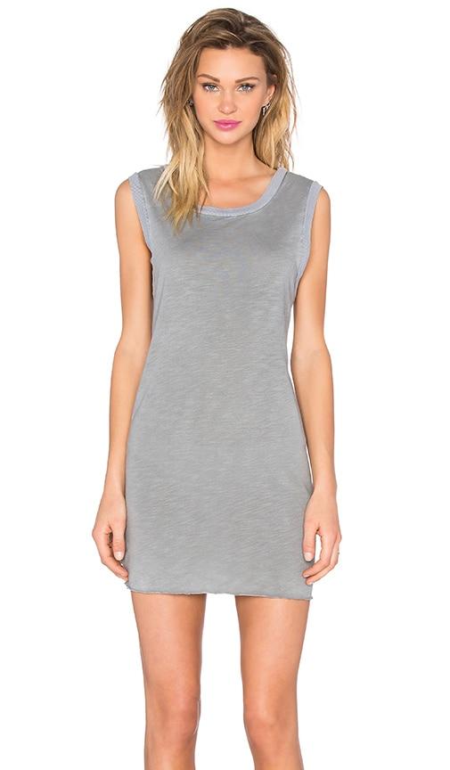TYLER JACOBS Jasper Tank Dress in Medium Grey Velvet