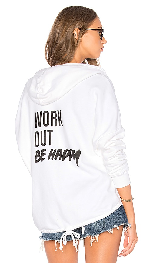 TYLER JACOBS Marion Work Out Be Happy Hoody in White