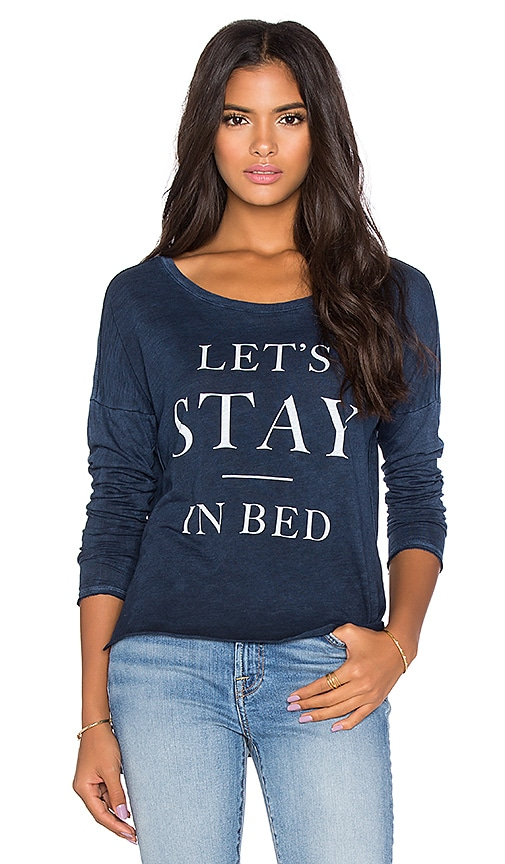 TYLER JACOBS Let's Stay in Bed Hux Long Sleeve Tee in Navy