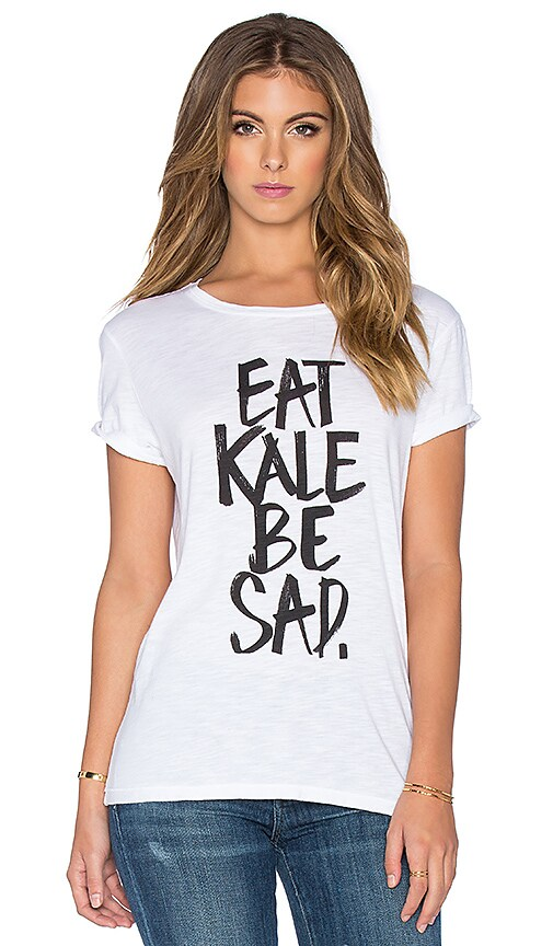 TYLER JACOBS Juno Eat Kale Be Sad Tee in White