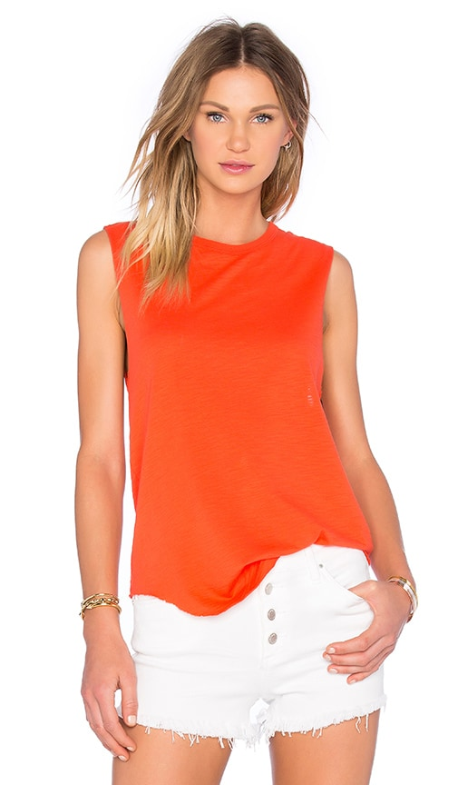 TYLER JACOBS Crew Neck Cut Off Tank in Orange