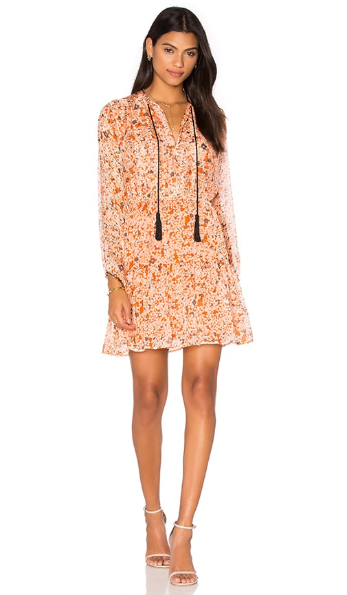 The Kooples Long Sleeve Tassel Dress in Orange