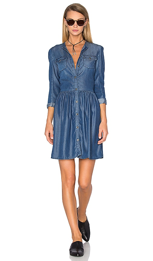 The Kooples Button Down Denim Dress in Blue