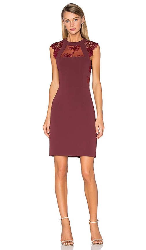 The Kooples Lace Cut Out Dress in Burgundy