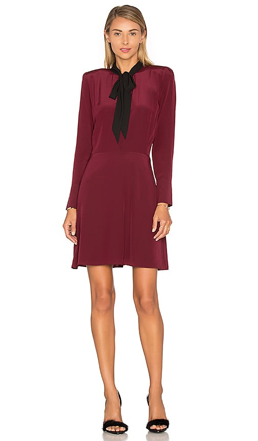 The Kooples Long Sleeve Tie Neck Dress in Burgundy