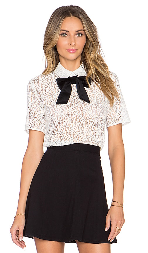 Lace Top With Velvet Bow