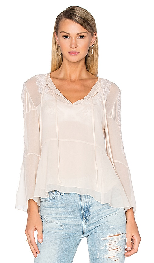 The Kooples Long Sleeve Lace Pleat Top in Ivory