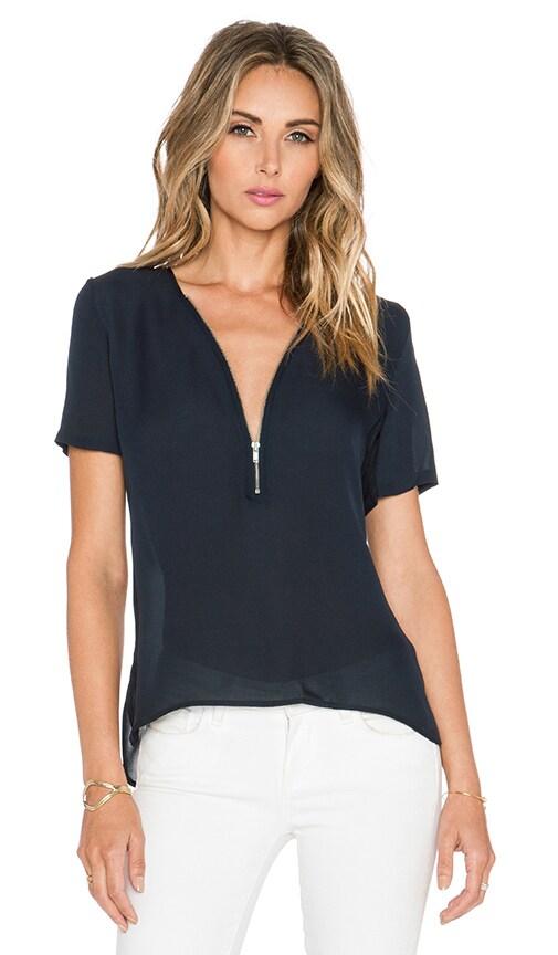 Short Sleeved Top with A Zip Neckline in Silk