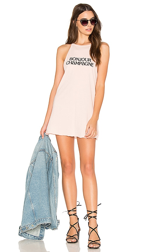 The Laundry Room Bonjour Champagne Tank Dress in Pink