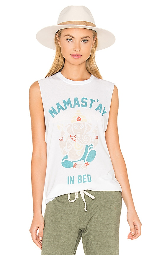The Laundry Room Namastay In Bed Muscle Tee in White