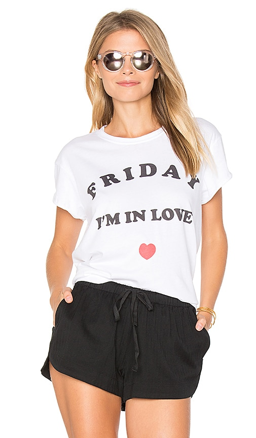 The Laundry Room Friday Love Rolling Tee in White