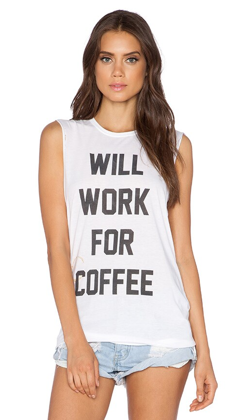 The Laundry Room Coffee Bum Muscle Tee in White
