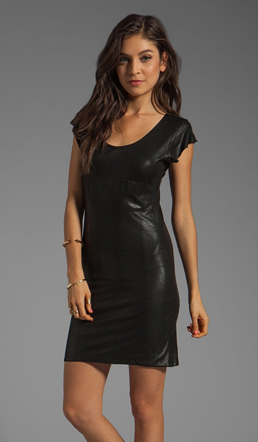 Coated Leather Cap Sleeve Tee Dress