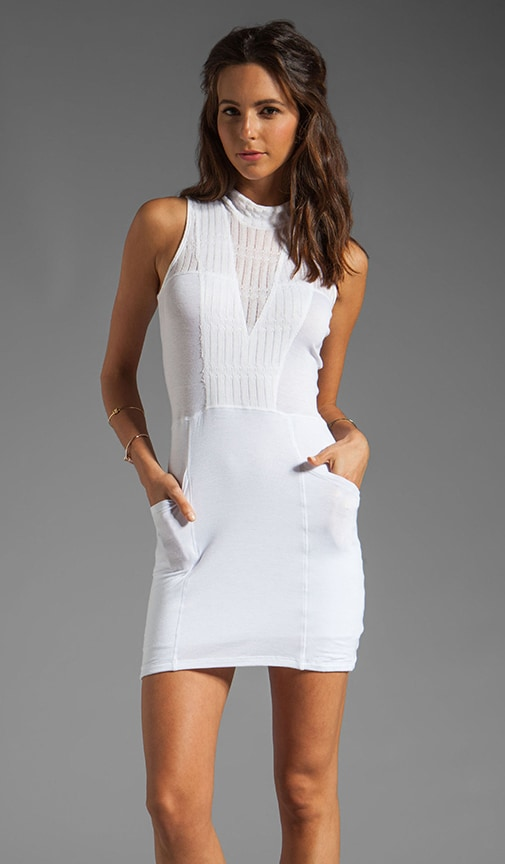 Pointelle Jersey Mock Neck Dress