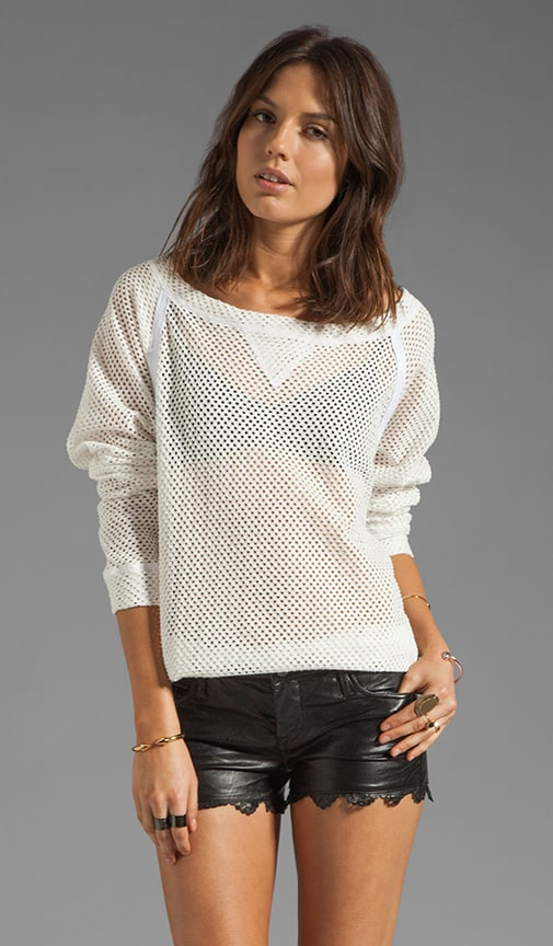 Cotton Crochet Off The Shoulder Raglan Tee