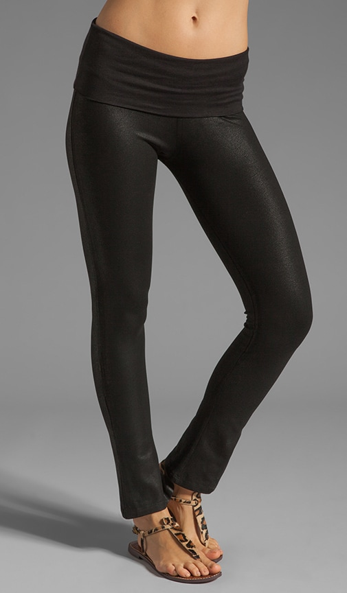 Coated Leather Stove Pipe Leggings