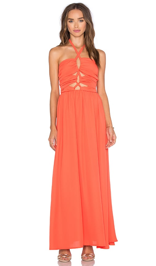 tiger Mist Tie Up Maxi Dress in Orange