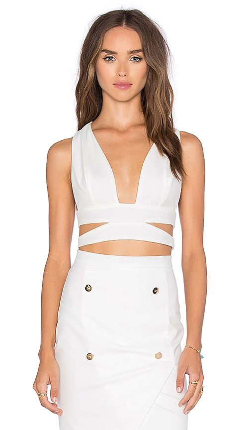 tiger Mist Lust Crop Top in White