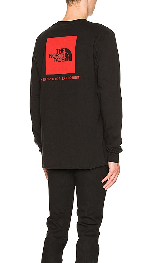 The North Face Long Sleeve Red Box Tee in Black