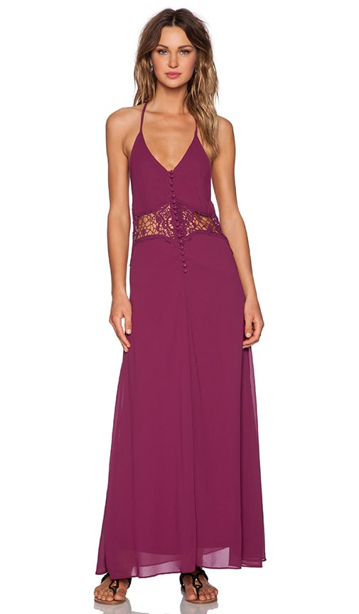 Toby Heart Ginger Frolic Maxi Dress in Mulberry