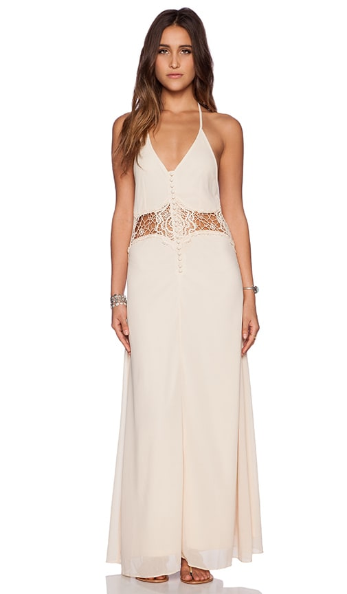 Toby Heart Ginger Frolic Maxi Dress in Nude