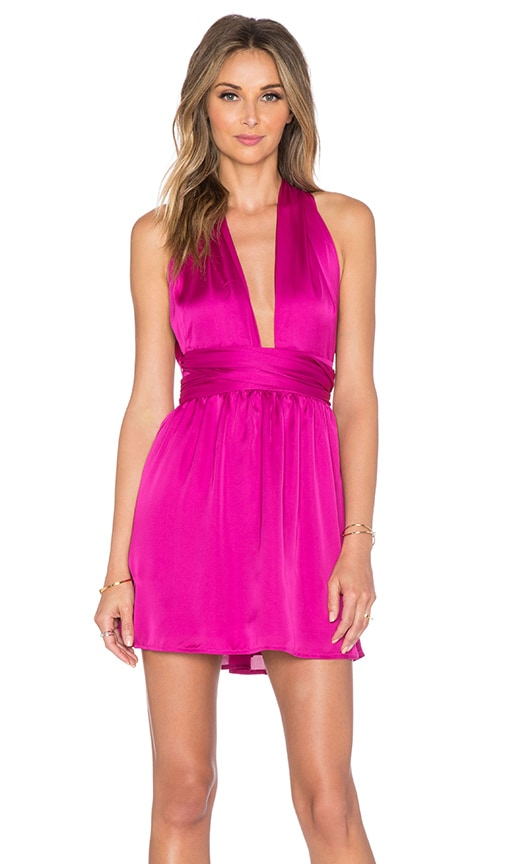 Toby Heart Ginger Tie It Your Way Mini Dress in Fuchsia Pink