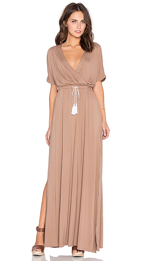 Toby Heart Ginger Billow Cross Front Maxi Dress in Brown