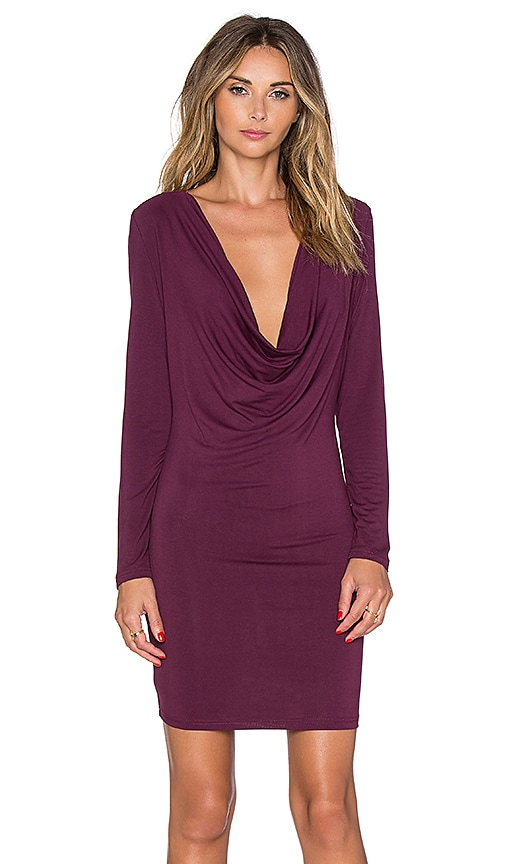 Toby Heart Ginger Mia Drape Front Mini Dress in Mulberry