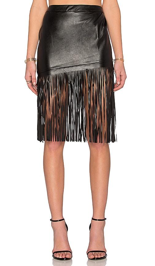 Angled Leatherette Midi Skirt