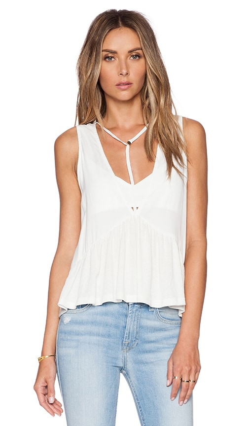 Toby Heart Ginger Tee Pee Peplum Top in Off White