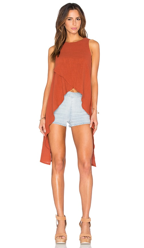 Toby Heart Ginger Little Lies Crepe Top in Rust