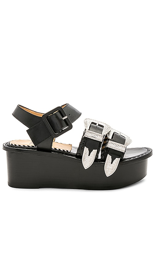 TOGA PULLA Double Buckle Platform in Black