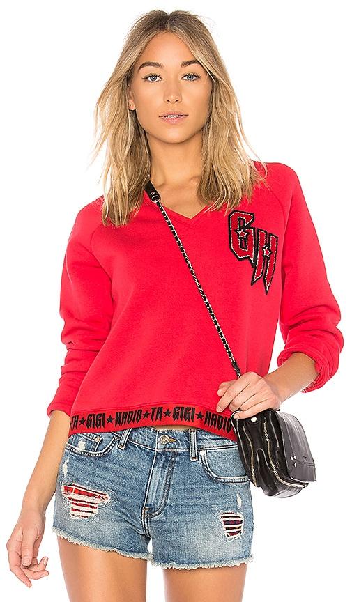 Tommy Hilfiger TOMMY X GIGI V-Neck Sweatshirt in Red