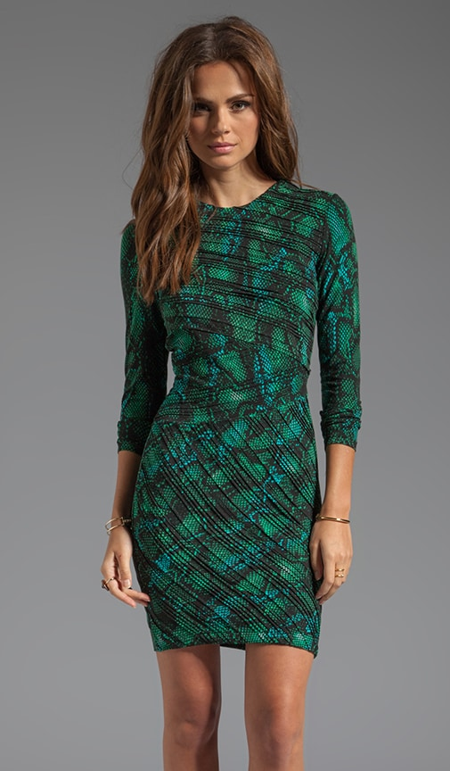 Tara Pleated Tonal Snake Dress
